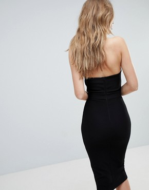photo High Neck Cross Over Panel Midi Dress by Oh My Love, color Black - Image 2