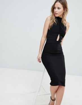 photo High Neck Cross Over Panel Midi Dress by Oh My Love, color Black - Image 1