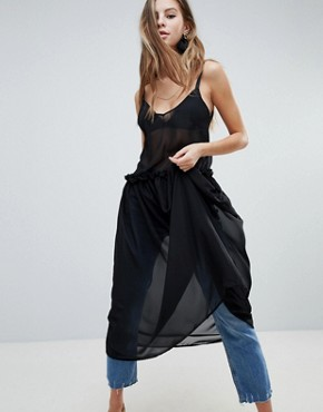 photo Sheer Midaxi Dress by Oh My Love, color Black - Image 1
