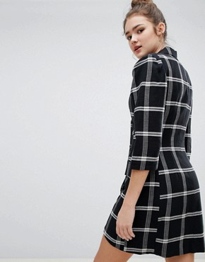 photo Check Shirt Dress by Bershka, color Black - Image 2