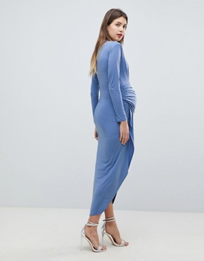 photo Wrap Front Maxi Dress by Queen Bee, color Airforce Blue - Image 2