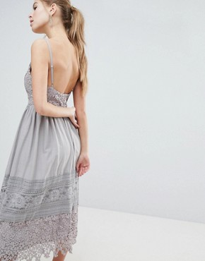 photo Lace Cami Midi Dress by Oh My Love, color Grey - Image 2