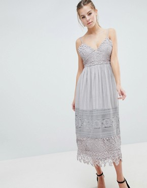 photo Lace Cami Midi Dress by Oh My Love, color Grey - Image 1