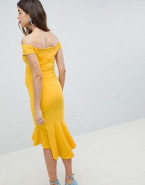 photo Off Shoulder Ruffle Midi Dress by Queen Bee, color Yellow - Image 2
