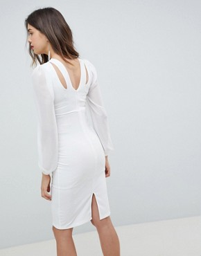 photo Open Back Bodycon Dress with Split Sleeve Detail by Queen Bee, color White - Image 2