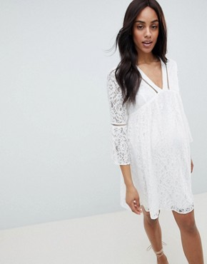 photo Allover Lace Mini Dress by Queen Bee, color White - Image 1