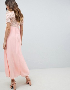 photo High Neck Cutwork Lace Top Maxi Dress by Queen Bee, color Nude - Image 2