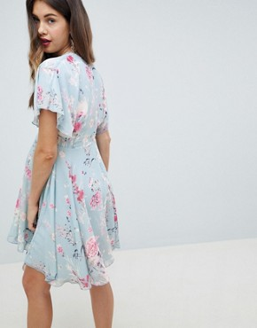 photo Midi Skater Dress in Pastel Floral Print by Queen Bee, color Multi - Image 2