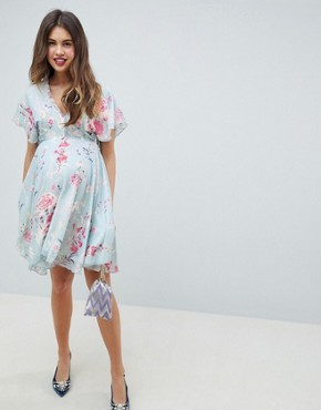 photo Midi Skater Dress in Pastel Floral Print by Queen Bee, color Multi - Image 1
