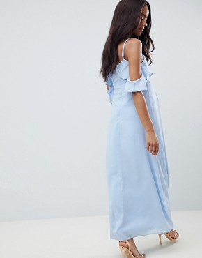 photo Cold Shoulder Detail Maxi Dress by Queen Bee, color Pale Blue - Image 2