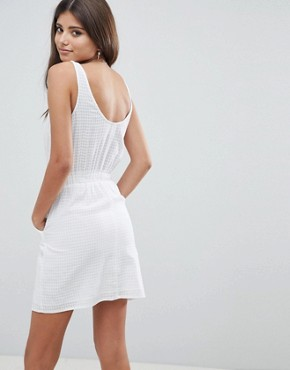 photo Casual Mini Dress in Grid Texture by ASOS DESIGN, color White - Image 2
