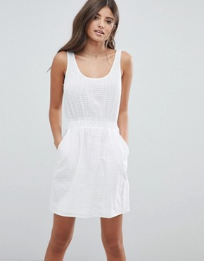 photo Casual Mini Dress in Grid Texture by ASOS DESIGN, color White - Image 1