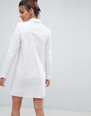 photo Trapeze Mini Shirt Dress with Broderie Trim by ASOS DESIGN, color White - Image 2