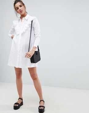 photo Trapeze Mini Shirt Dress with Broderie Trim by ASOS DESIGN, color White - Image 1