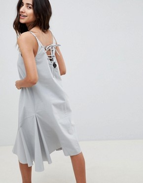 photo Trapeze Swing Lace Up Back Midi Sundress by ASOS DESIGN, color Duck Egg - Image 2
