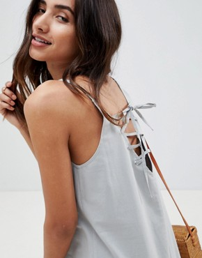 photo Trapeze Swing Lace Up Back Midi Sundress by ASOS DESIGN, color Duck Egg - Image 3