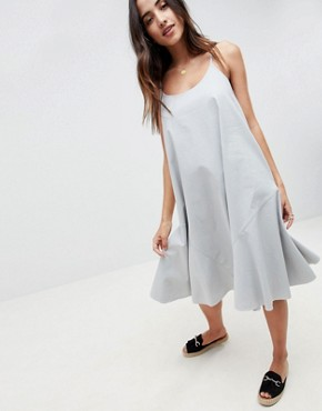 photo Trapeze Swing Lace Up Back Midi Sundress by ASOS DESIGN, color Duck Egg - Image 4