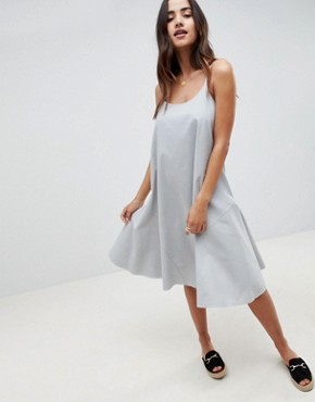 photo Trapeze Swing Lace Up Back Midi Sundress by ASOS DESIGN, color Duck Egg - Image 1