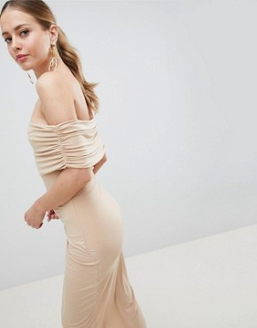 photo Kimmi Slinky Ruched Bardot Midi Dress by ASOS DESIGN, color Nude - Image 2