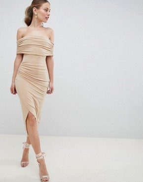 photo Kimmi Slinky Ruched Bardot Midi Dress by ASOS DESIGN, color Nude - Image 1