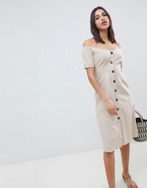 photo Button Through Midi Off Shoulder Dress by ASOS DESIGN, color Stone - Image 1