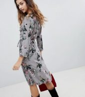 photo Floral Wrap Dress by Soaked in Luxury, color Medium Grey - Image 2