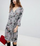 photo Floral Wrap Dress by Soaked in Luxury, color Medium Grey - Image 1