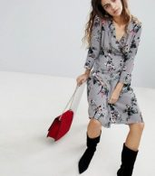 photo Floral Wrap Dress by Soaked in Luxury, color Medium Grey - Image 4