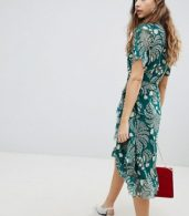 photo Printed Wrap Ruffle Dress by Soaked in Luxury, color Storm Green - Image 2