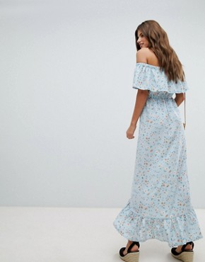 photo Bardot Floral Maxi Dress by Missguided, color Blue - Image 2