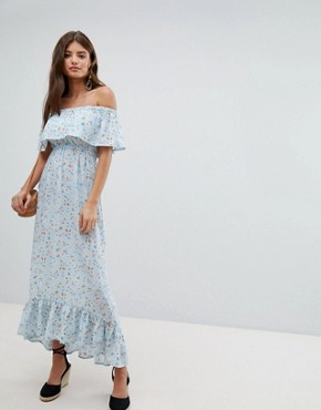 photo Bardot Floral Maxi Dress by Missguided, color Blue - Image 1