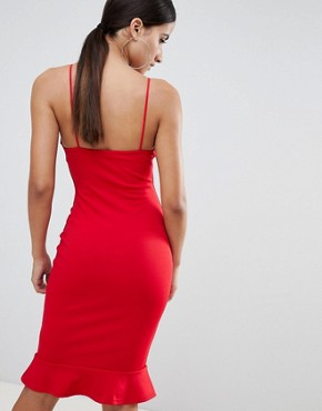 photo High Neck Frill Hem Midi Dress by Missguided, color Red - Image 2