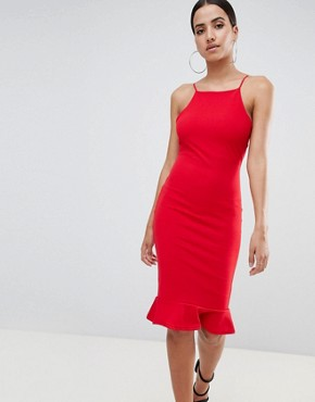 photo High Neck Frill Hem Midi Dress by Missguided, color Red - Image 1