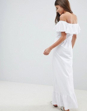 photo Off Shoulder Maxi Sundress with Tiered Skirt by ASOS DESIGN, color White - Image 2