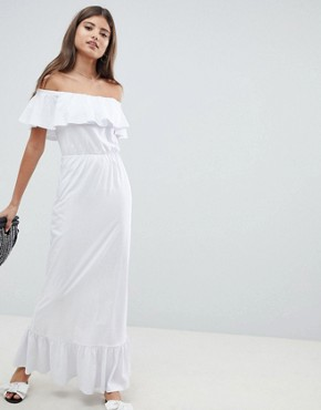 photo Off Shoulder Maxi Sundress with Tiered Skirt by ASOS DESIGN, color White - Image 1