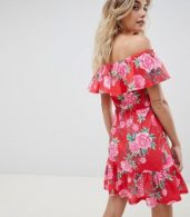 photo Off Shoulder Sundress with Tiered Skirt in Floral Print by ASOS DESIGN, color Floral Print - Image 2