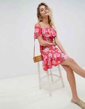 photo Off Shoulder Sundress with Tiered Skirt in Floral Print by ASOS DESIGN, color Floral Print - Image 4