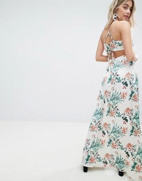 photo Tropical Print Side Split Maxi Dress by Missguided, color Multi - Image 2