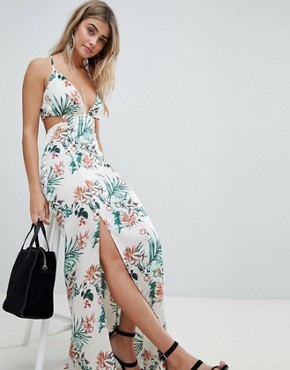 photo Tropical Print Side Split Maxi Dress by Missguided, color Multi - Image 1