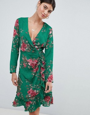 photo Floral Tea Dress by Missguided, color Green - Image 1