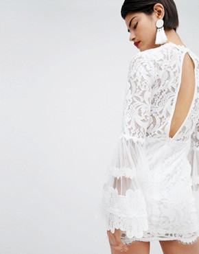 photo High Neck Bell Sleeve Lace Dress by Missguided, color White - Image 2
