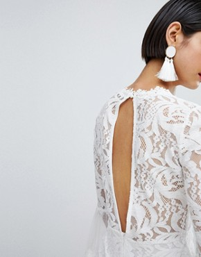 photo High Neck Bell Sleeve Lace Dress by Missguided, color White - Image 3
