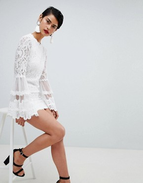 photo High Neck Bell Sleeve Lace Dress by Missguided, color White - Image 4