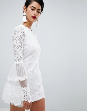 photo High Neck Bell Sleeve Lace Dress by Missguided, color White - Image 1