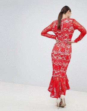 photo Long Sleeve Lace Fishtail Midi Dress by Missguided, color Red - Image 2