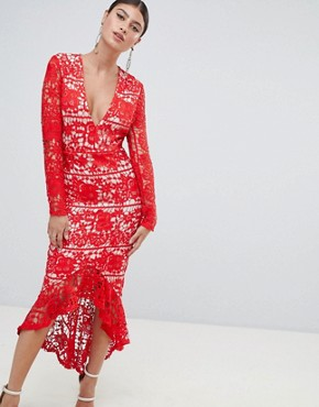photo Long Sleeve Lace Fishtail Midi Dress by Missguided, color Red - Image 1