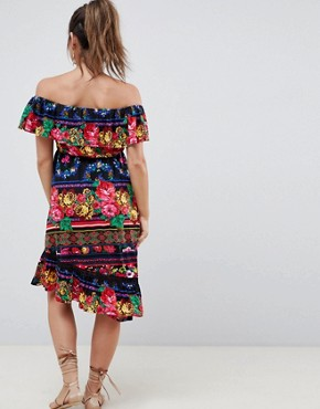 photo Maternity Off Shoulder Midi Sundress in Spliced Floral by ASOS DESIGN, color Multi - Image 2