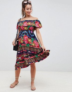 photo Maternity Off Shoulder Midi Sundress in Spliced Floral by ASOS DESIGN, color Multi - Image 1