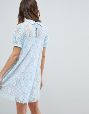 photo Maternity Lace Swing Dress with Collar by ASOS DESIGN, color Blue - Image 2