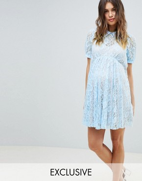 photo Maternity Lace Swing Dress with Collar by ASOS DESIGN, color Blue - Image 1